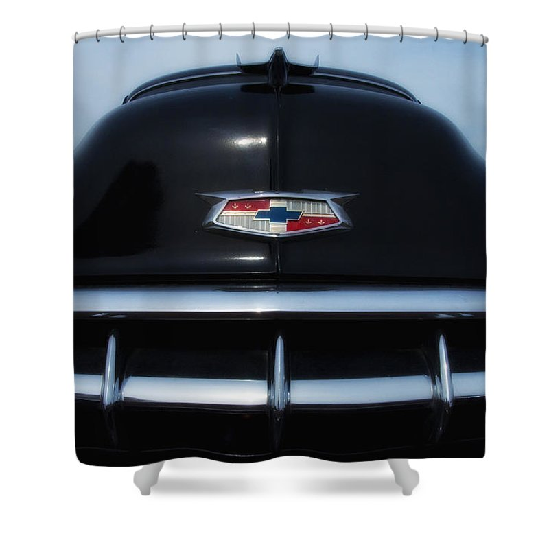 1954 Shower Curtain featuring the photograph 54 Chevy Grill by Bill Cannon