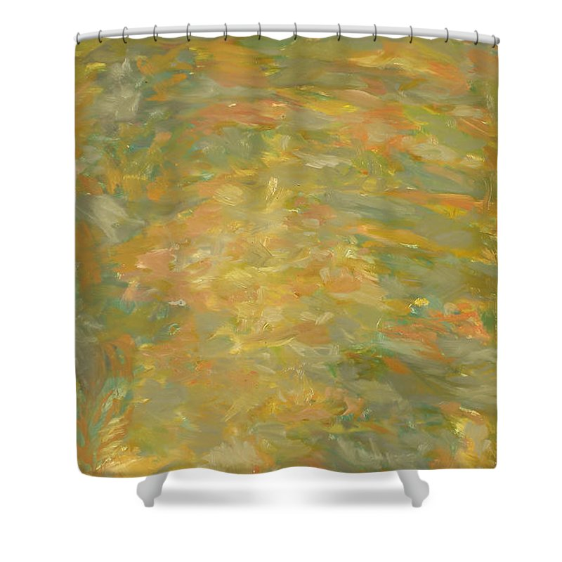 River Shower Curtain featuring the painting River by Robert Nizamov
