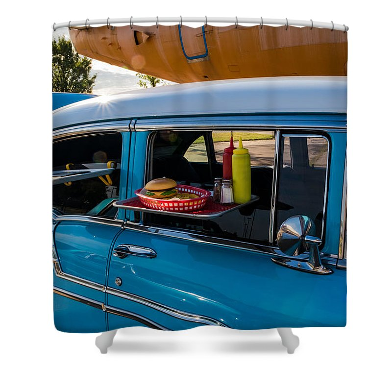 1956 Shower Curtain featuring the photograph 56 Chevy by Jay Stockhaus