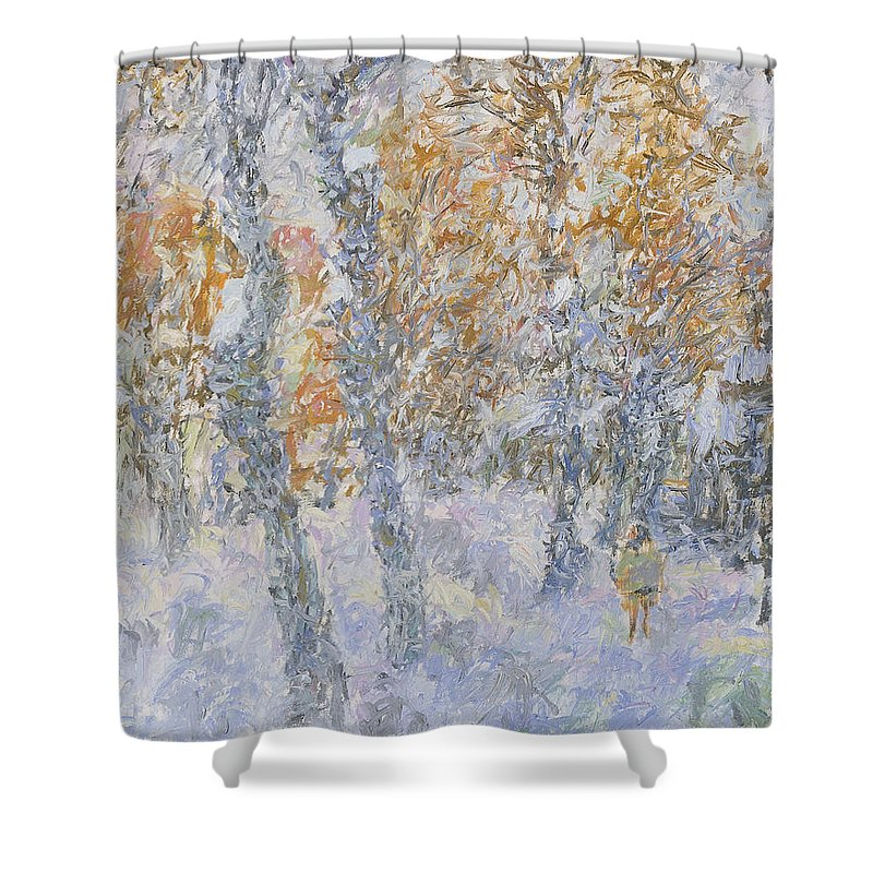 Landscape Shower Curtain featuring the painting Winter by Robert Nizamov