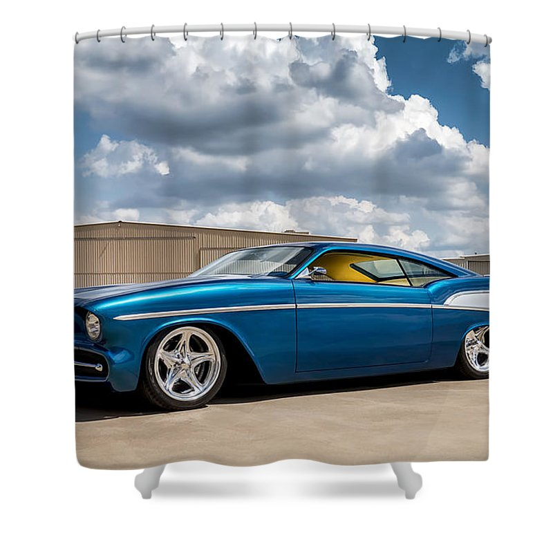 Car Shower Curtain featuring the digital art '57 Chevy Custom by Douglas Pittman
