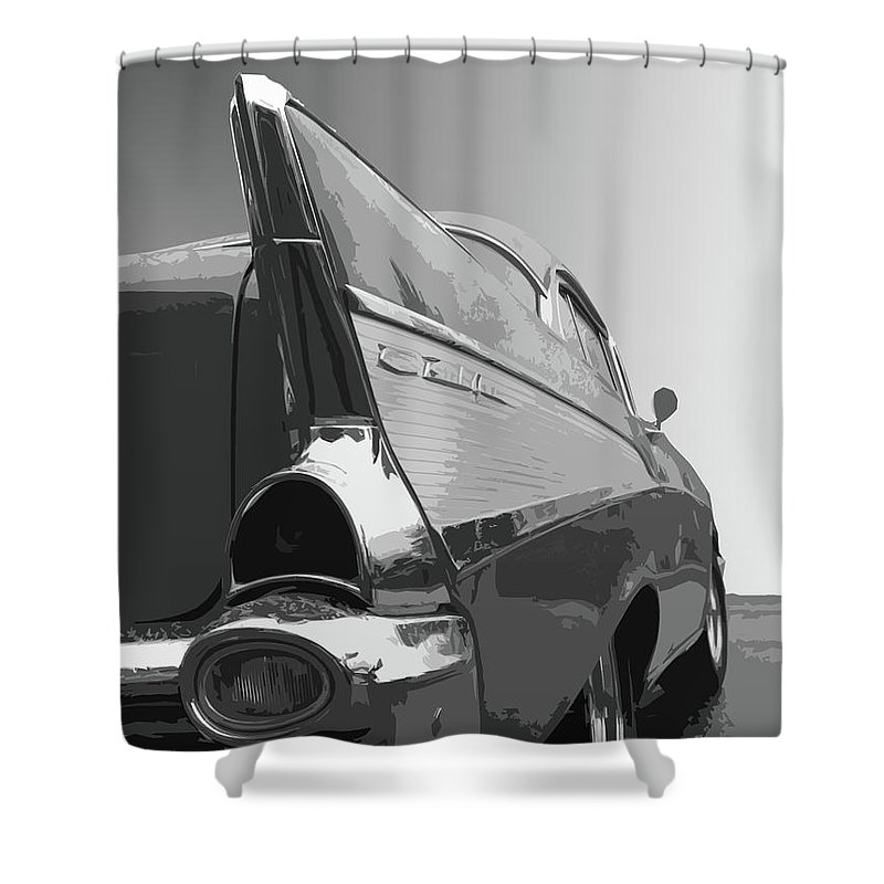 1957 Shower Curtain featuring the photograph 57 Chevy Verticle by Dick Goodman