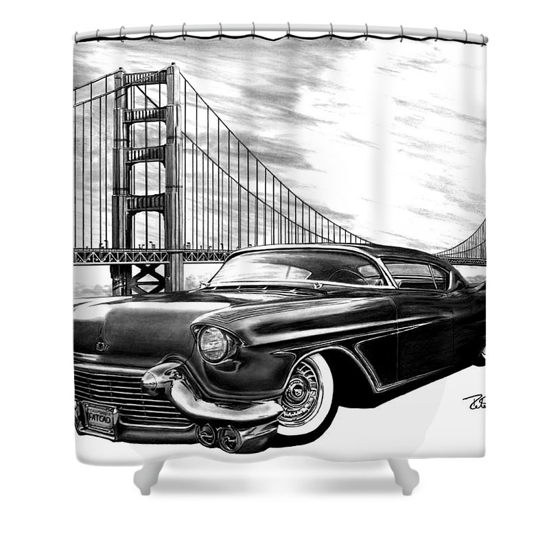 57 Fat Cad Shower Curtain featuring the drawing 57 Fat Cad by Peter Piatt