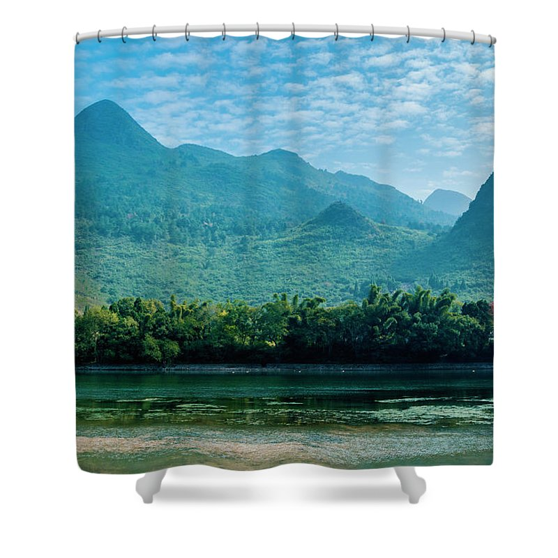 River Shower Curtain featuring the photograph Lijiang River And Karst Mountains Scenery by Carl Ning