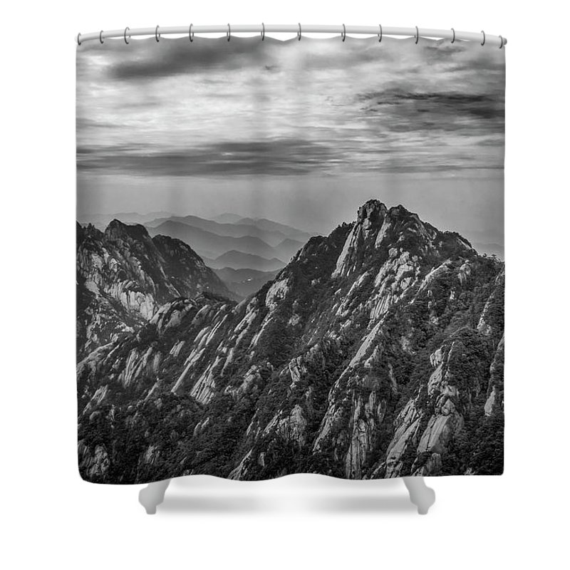 Anhui Province Shower Curtain featuring the photograph 58462 Yellow Mountains Black And White by David Lange