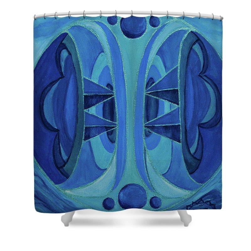 Mandala Shower Curtain featuring the painting 5th Mandala - Throat Chakra by Jennifer Christenson