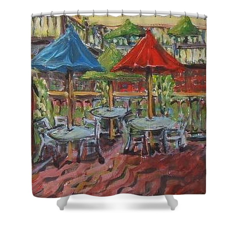 Fine Art Shower Curtain featuring the painting 5th Street Market Tables by Todd Artist