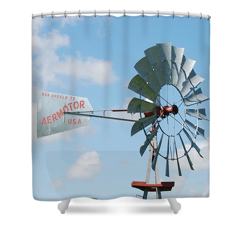 Blue Shower Curtain featuring the photograph Aermotor Windmill by Rob Hans
