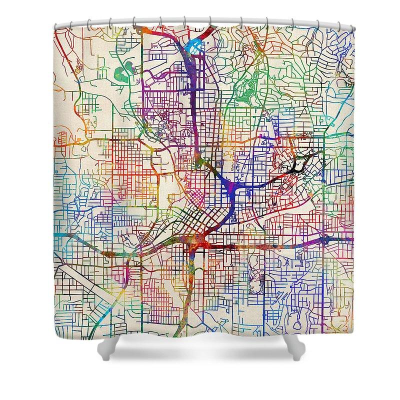 City Map Of Atlanta Georgia.Atlanta Georgia City Map Shower Curtain For Sale By Michael Tompsett