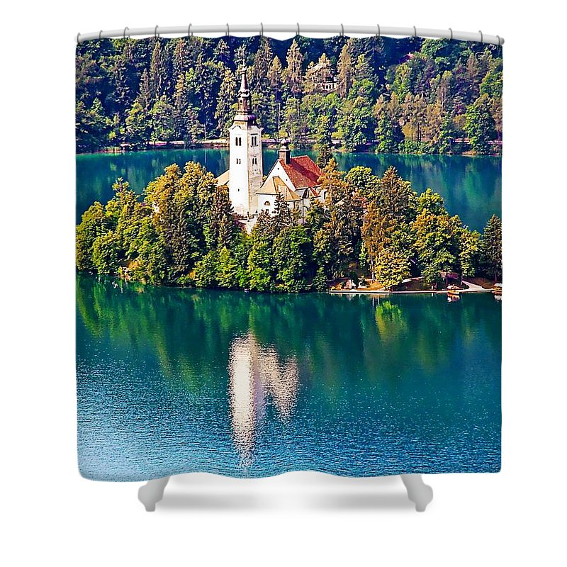 Europe Shower Curtain featuring the photograph Church Of The Assumption - Lake Bled, Slovenia by Joseph Hendrix