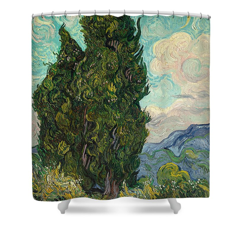 Dutch Shower Curtain featuring the painting Cypresses by Vincent van Gogh