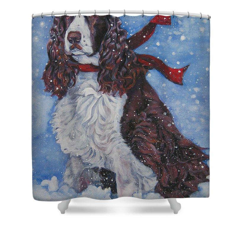 English Springer Spaniel Shower Curtain featuring the painting English Springer Spaniel by Lee Ann Shepard
