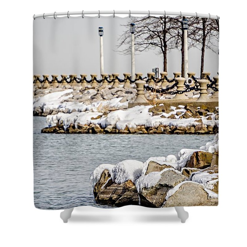 Season Shower Curtain featuring the photograph Frozen Winter Scenes On Great Lakes by Alex Grichenko