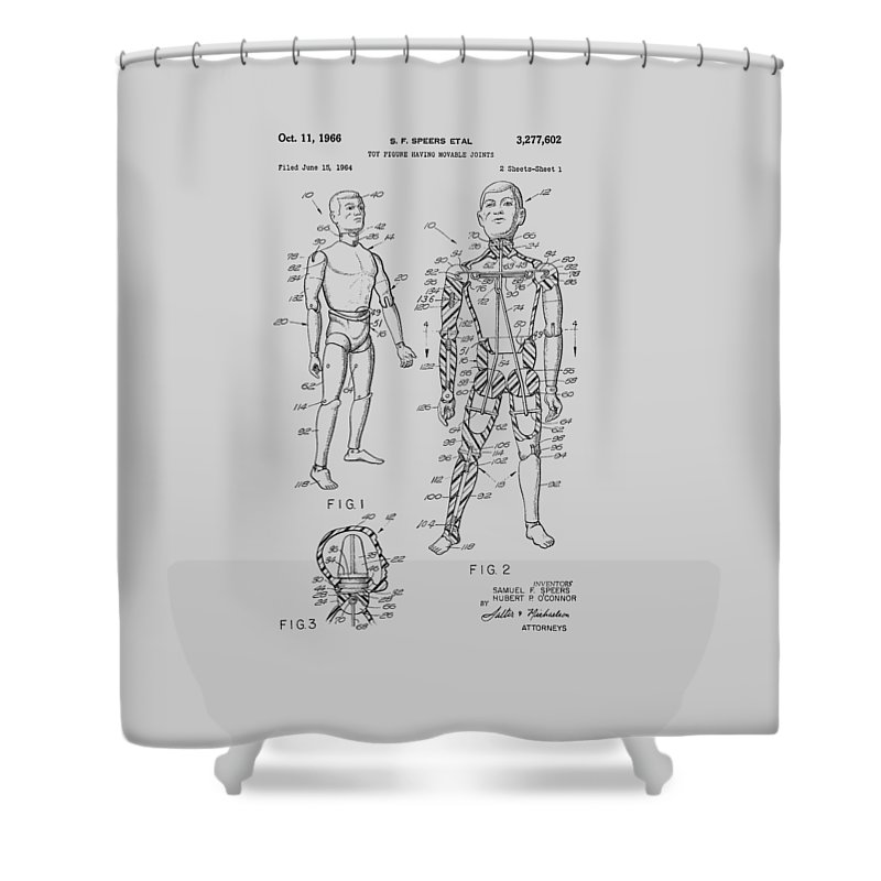 G.i. Joe Shower Curtain featuring the photograph G.i. Joe Patent 1964 by Chris Smith