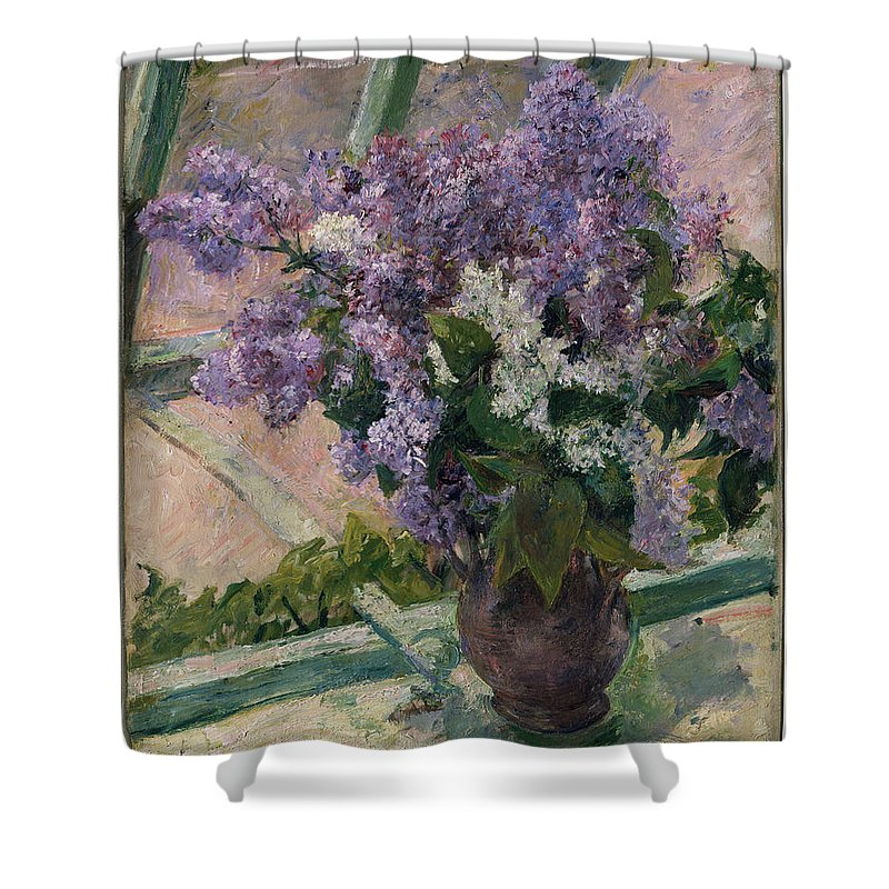 Lilacs In A Window (vase De Lilas A La Fenetre) Shower Curtain featuring the painting Lilacs In A Window by Mary Cassatt