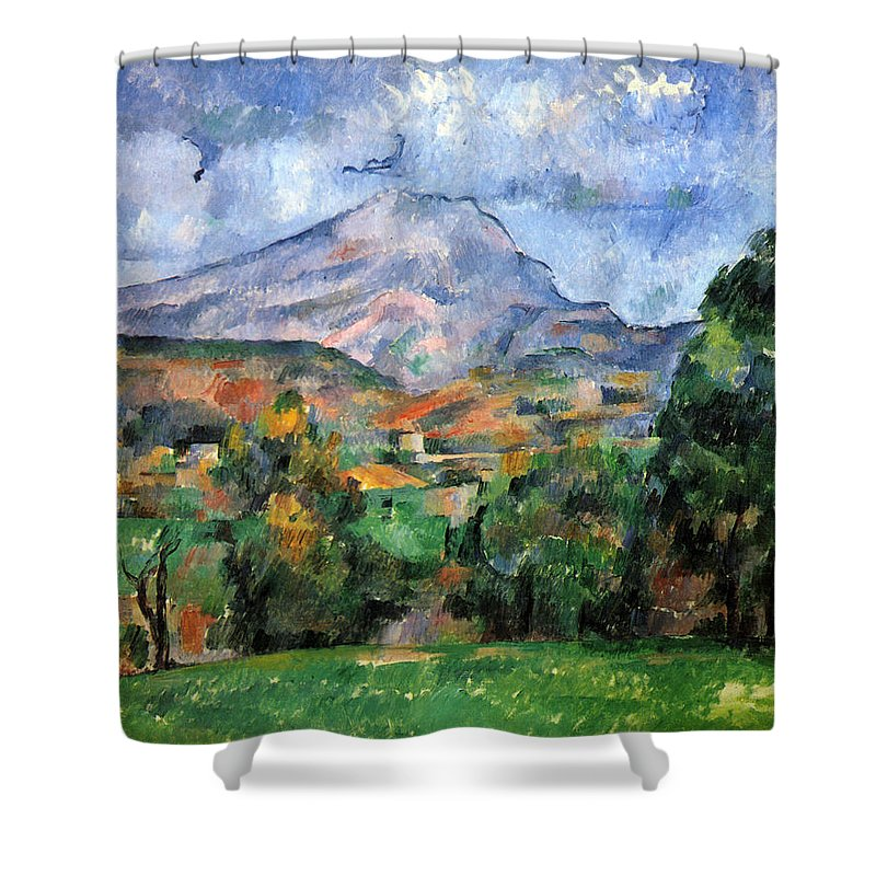 Clouds Shower Curtain featuring the painting Montagne Sainte-victoire by Paul Cezanne