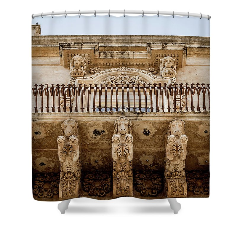 Aged Shower Curtain featuring the photograph Noto, Sicily, Italy - Detail Of Baroque Balcony, 1750 by Paolo Modena
