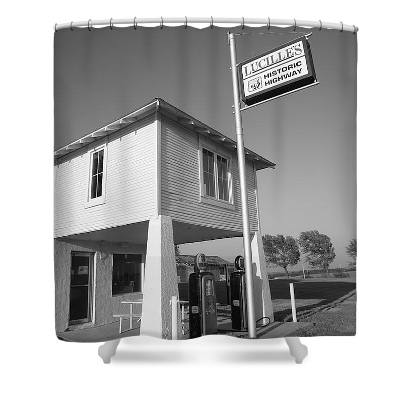 66 Shower Curtain featuring the photograph Route 66 - Lucille's Gas Station by Frank Romeo