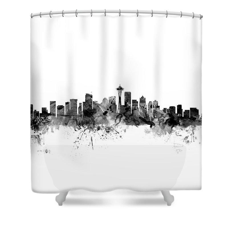 United States Shower Curtain featuring the digital art Seattle Washington Skyline by Michael Tompsett