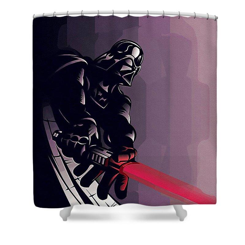 Star Wars Yoda Shower Curtain featuring the digital art Star Wars Movie Poster by Larry Jones