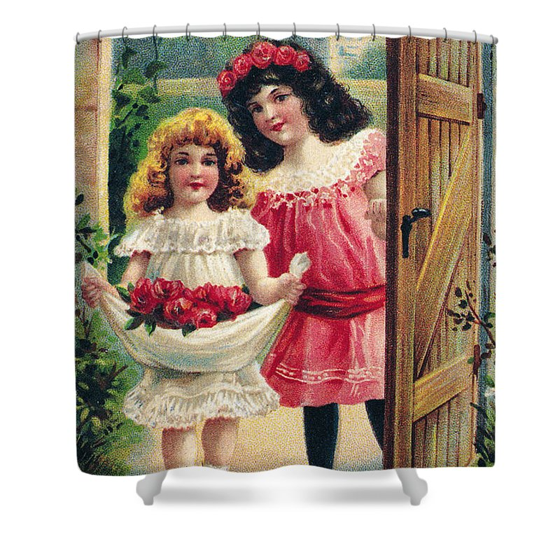 1908 Shower Curtain featuring the photograph Valentines Day Card by Granger