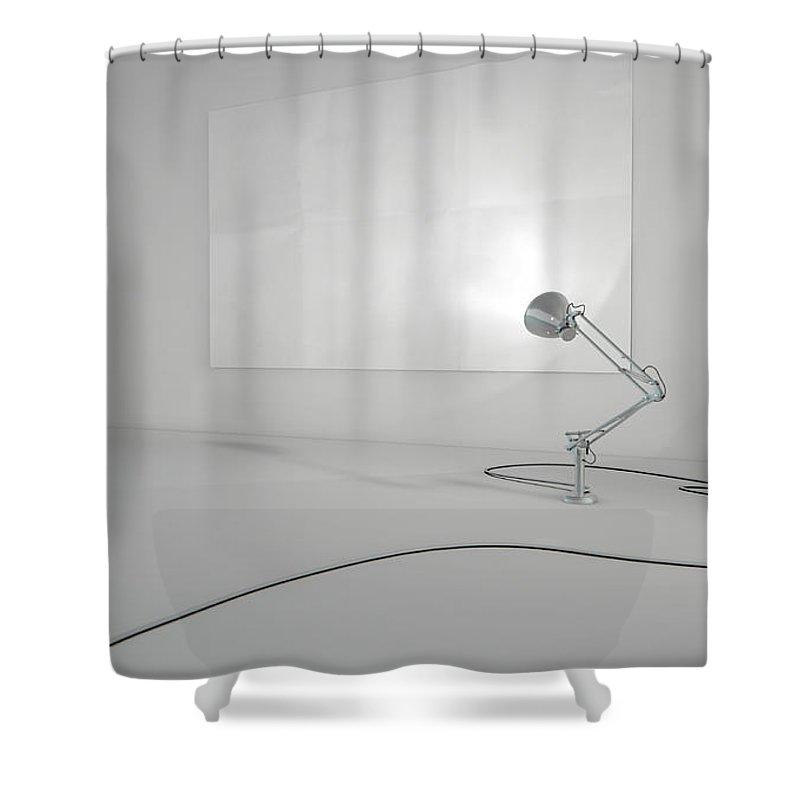 Illustration Shower Curtain featuring the digital art Vintage Lamp Illuminating Wall by Allan Swart