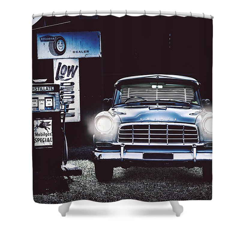 Holden Shower Curtain featuring the photograph 60s Australian Fc Holden Parked At Old Garage by Jorgo Photography - Wall Art Gallery