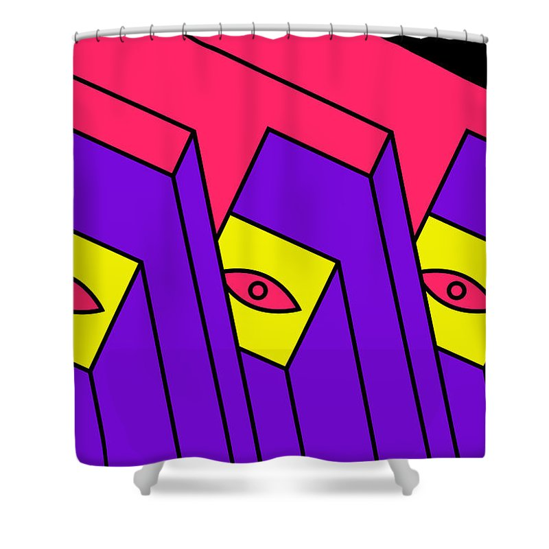 Pop-art Shower Curtain featuring the digital art 666 by Peter Dovren