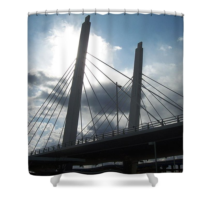 Bridge Shower Curtain featuring the photograph 6th Street Bridge Backlit by Anita Burgermeister