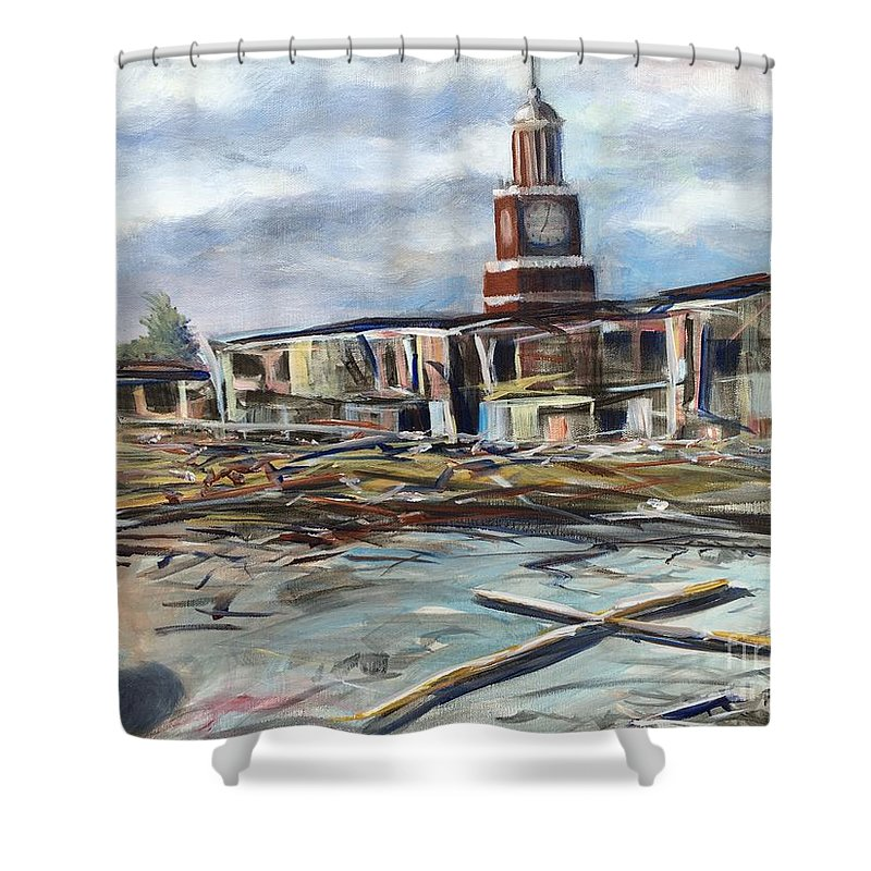 Jackson Shower Curtain featuring the painting Union University Jackson Tennessee 7 02 P M by Randy Burns