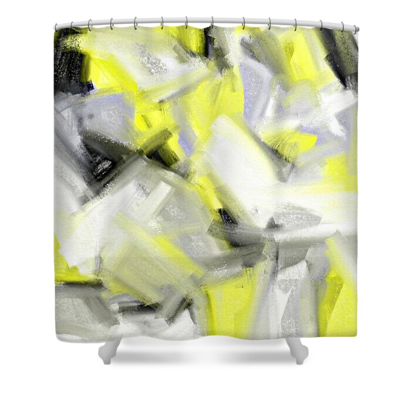 Shower Curtain featuring the painting Abstrakt by Sebastien  Braillon