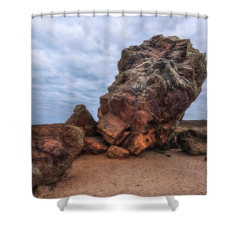 Agglestone Rock Shower Curtain featuring the photograph Agglestone Rock - England by Joana Kruse