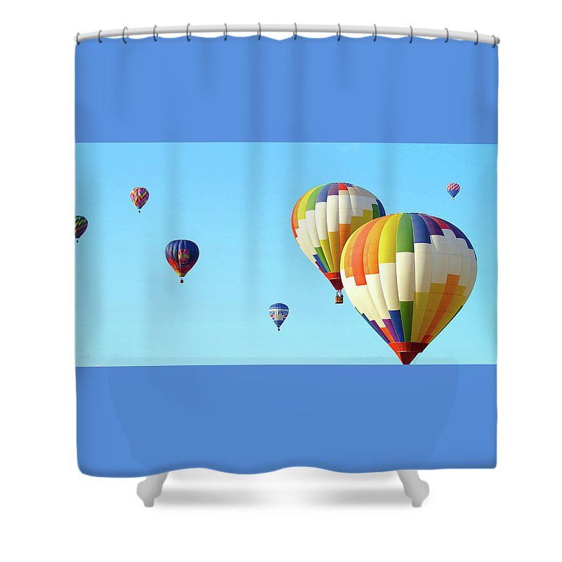 Balloons Shower Curtain featuring the photograph 7 Balloons by Linda Cupps