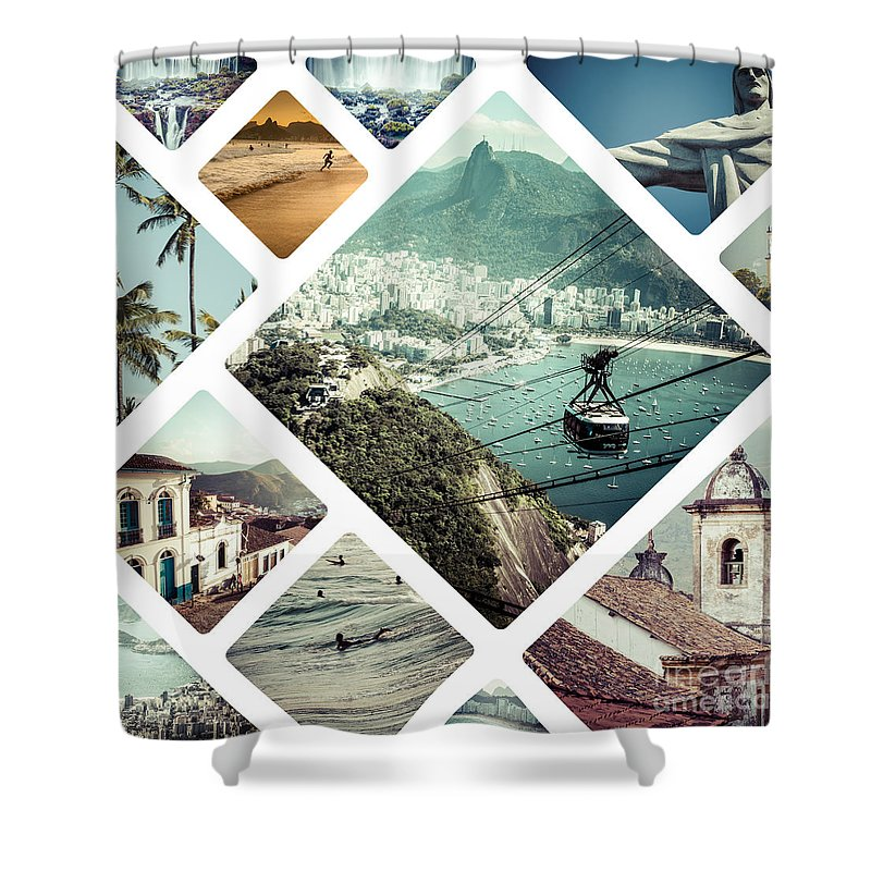 Rio Shower Curtain featuring the photograph Collage Of Rio De Janeiro by Mariusz Prusaczyk