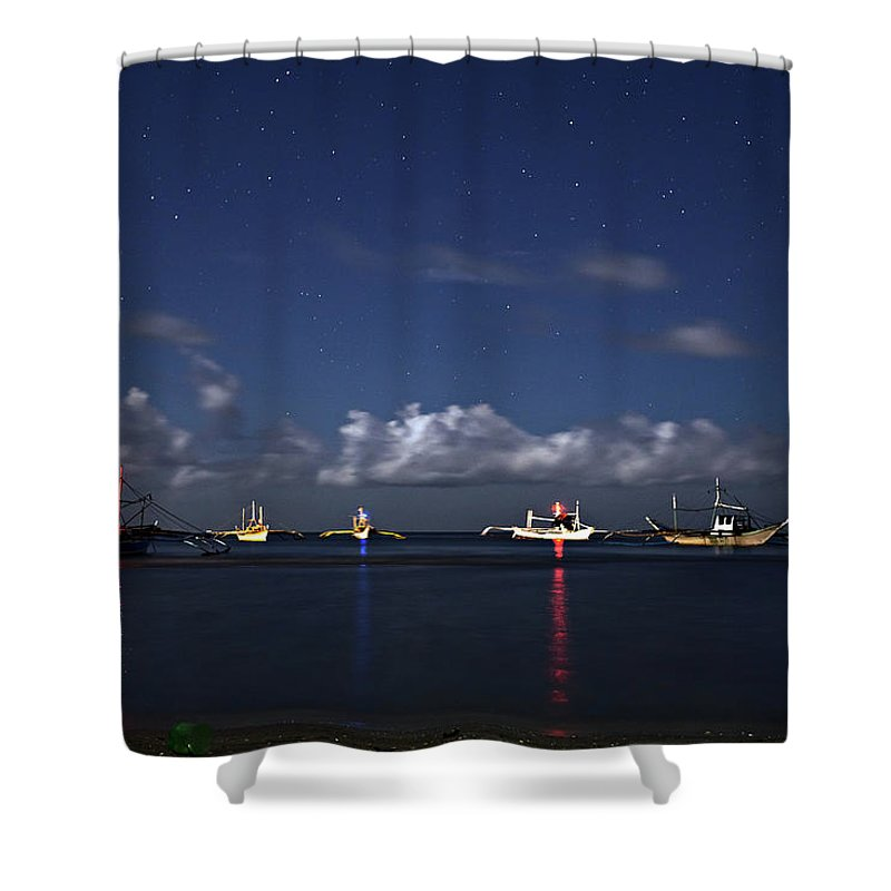 Boat Shower Curtain featuring the photograph Fishing Boats by Lik Batonboot