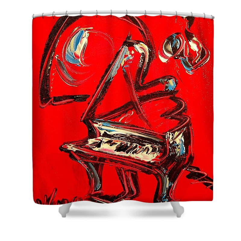 Newyork Shower Curtain featuring the painting Piano by Mark Kazav