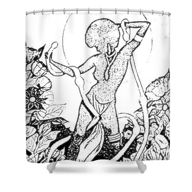 Pinups Shower Curtain featuring the digital art Pinup by ReInVintaged