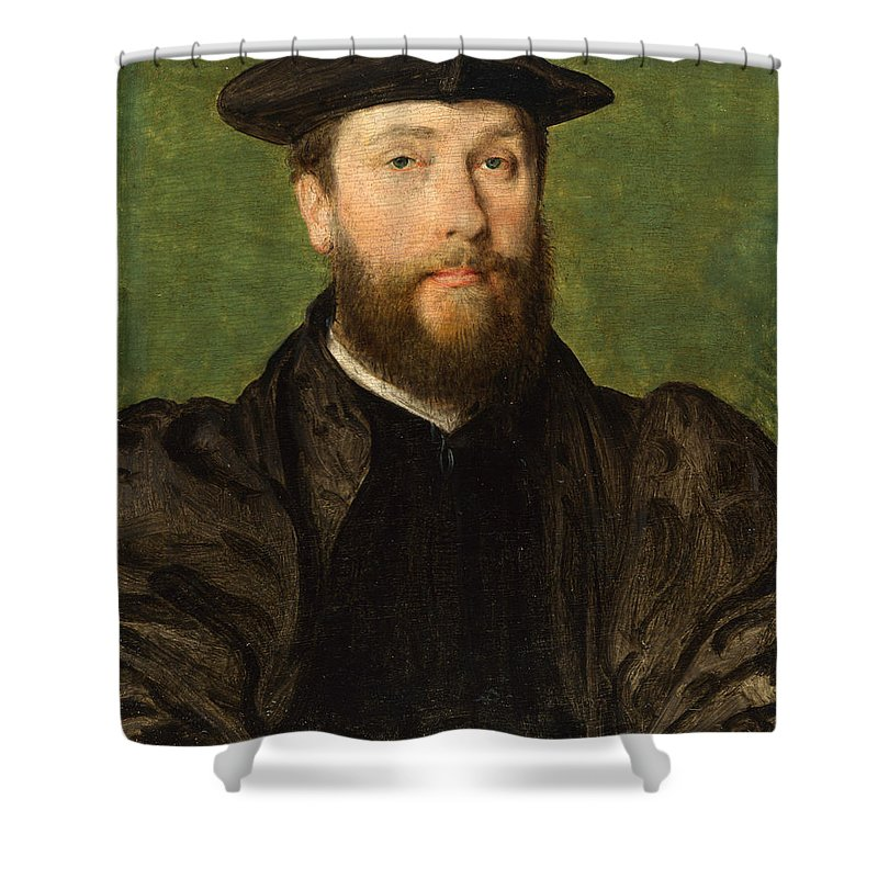 Bearded Shower Curtain featuring the painting Portrait Of A Man by Corneille De Lyon