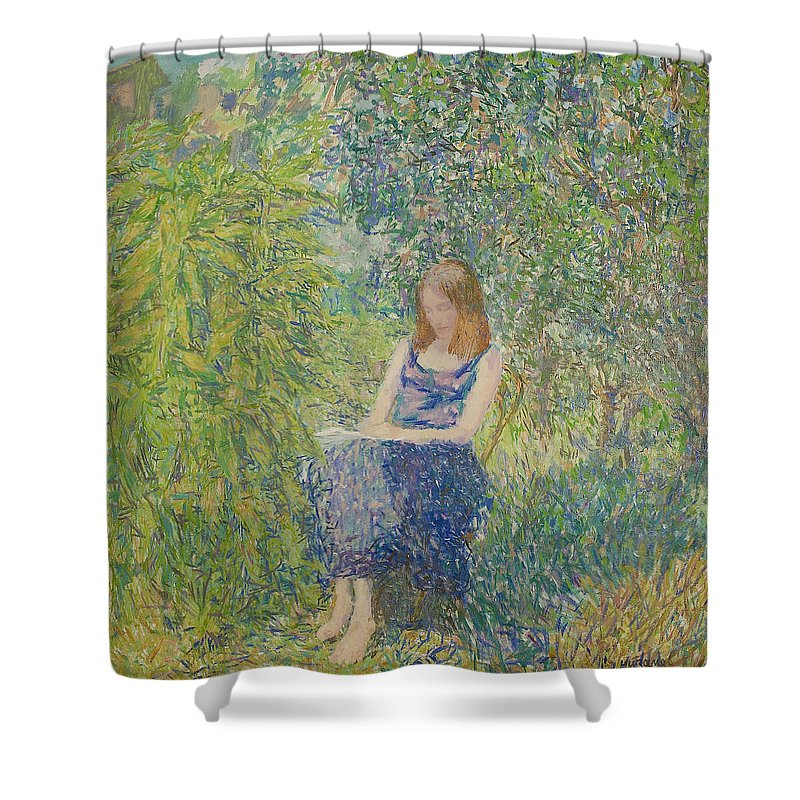 Beauty Shower Curtain featuring the painting Portrait by Robert Nizamov