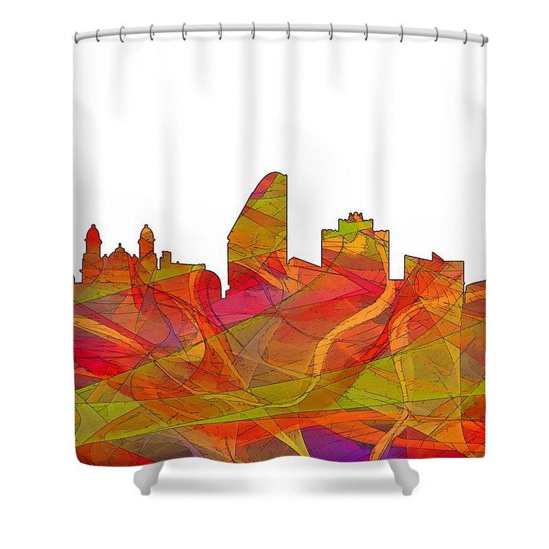 San Jose California Skyline Shower Curtain featuring the digital art San Jose California Skyline by Marlene Watson