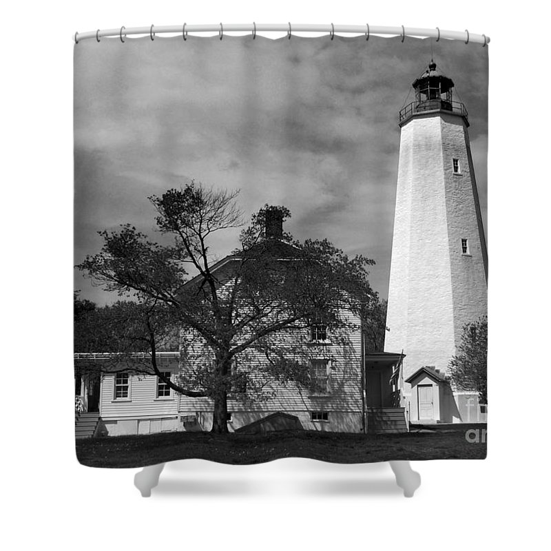 Lighthouses Shower Curtain featuring the photograph Sandy Hook Lighthouse Nj by Skip Willits