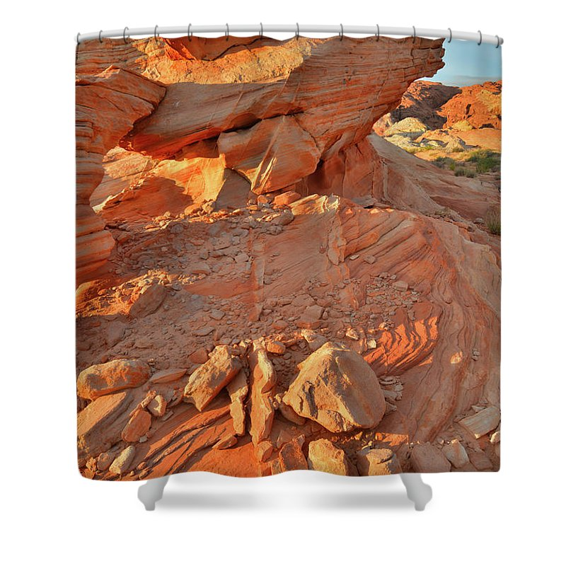 Valley Of Fire State Park Shower Curtain featuring the photograph Sunrise On Valley Of Fire by Ray Mathis