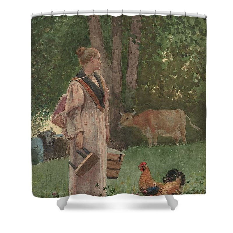 Winslow Homer - The Milk Maid (1878) Shower Curtain featuring the painting The Milk Maid by MotionAge Designs