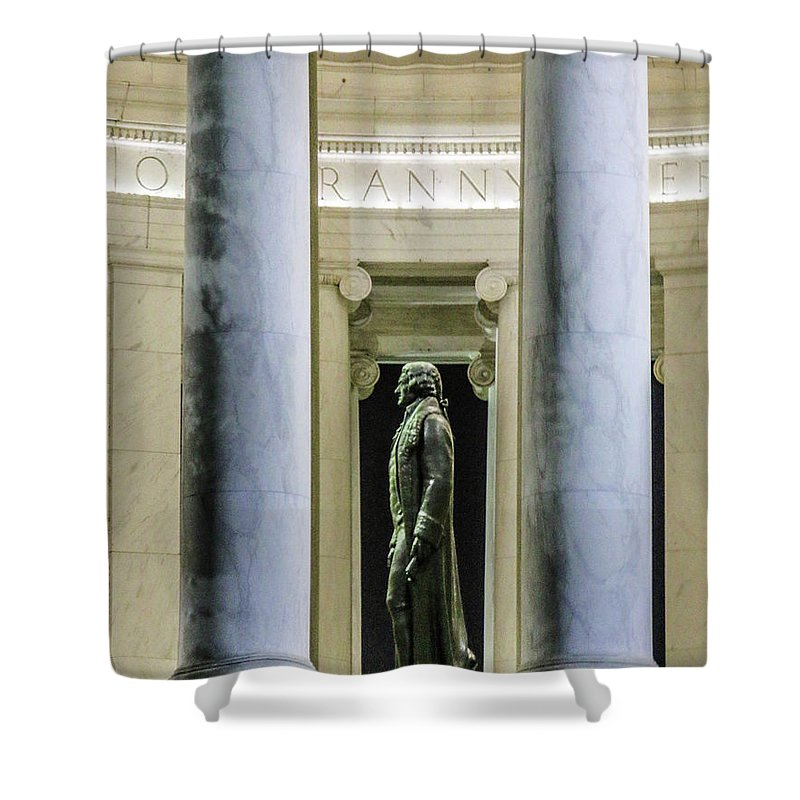 This Is A Photo Looking At Thomas Jefferson From The Outside Of The Thomas Jefferson Memorial Shower Curtain featuring the photograph Thomas Jefferson Memorial by William Rogers