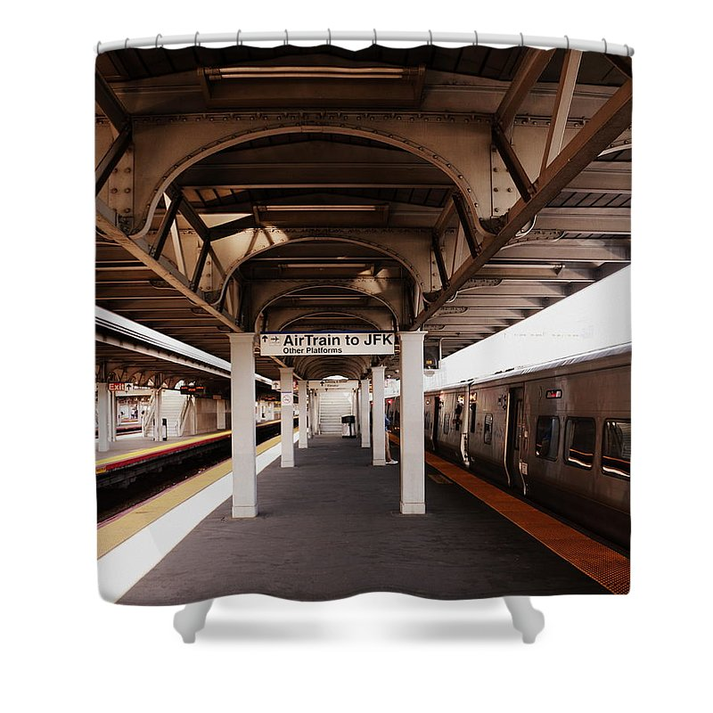 Jamaica Ny Shower Curtain featuring the photograph Train Station Series by Rhona Lawrence