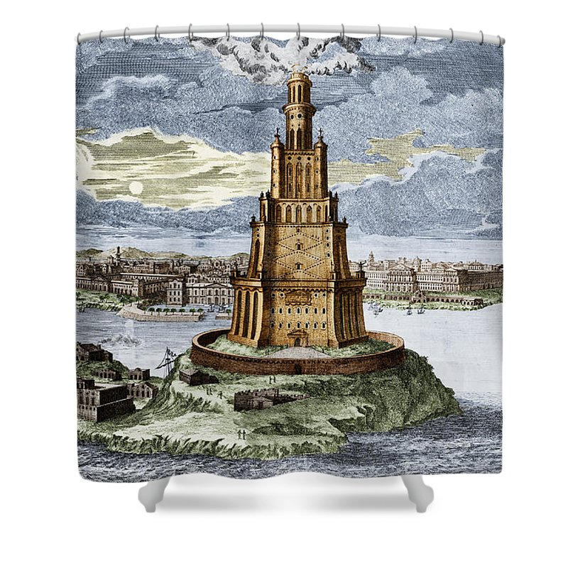 History Shower Curtain Featuring The Photograph 7 Wonders Of World Lighthouse By Photo Researchers