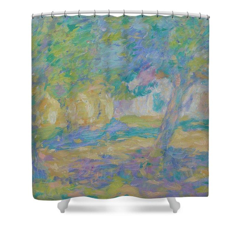 Park Shower Curtain featuring the painting Garden by Robert Nizamov
