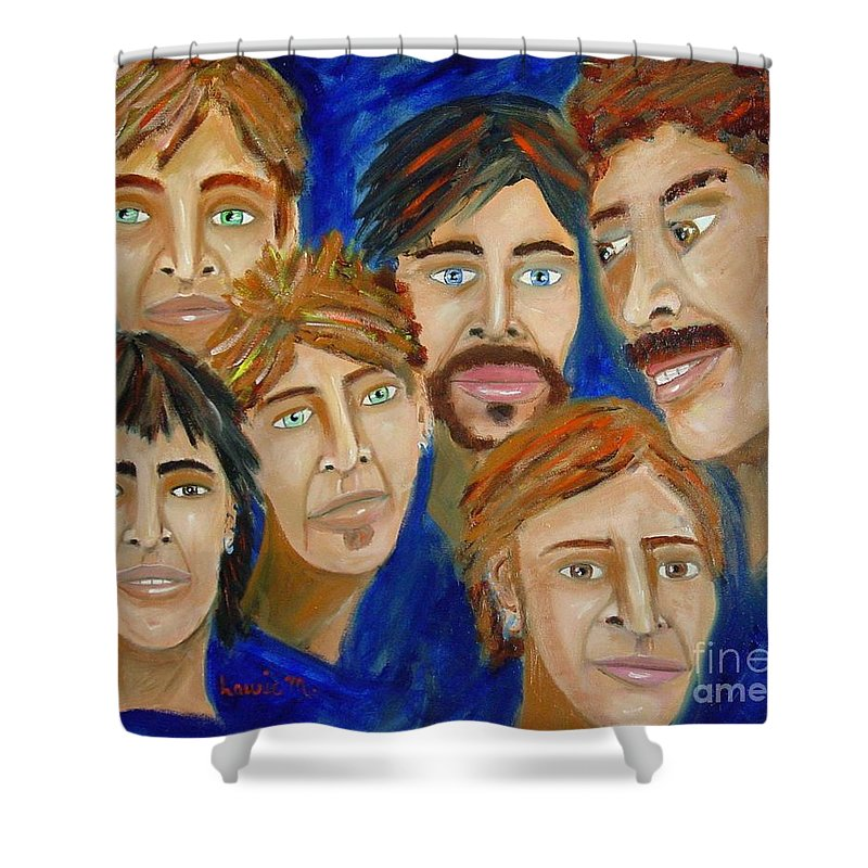Portrait Shower Curtain featuring the painting 70s Band Reunion by Laurie Morgan