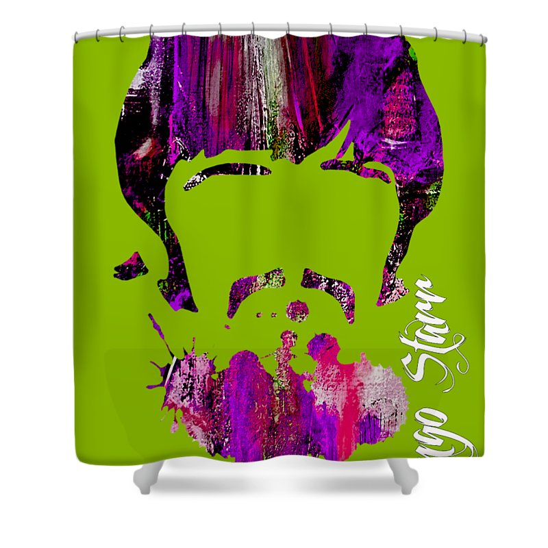 Ringo Starr Shower Curtain featuring the mixed media Ringo Starr Collection by Marvin Blaine