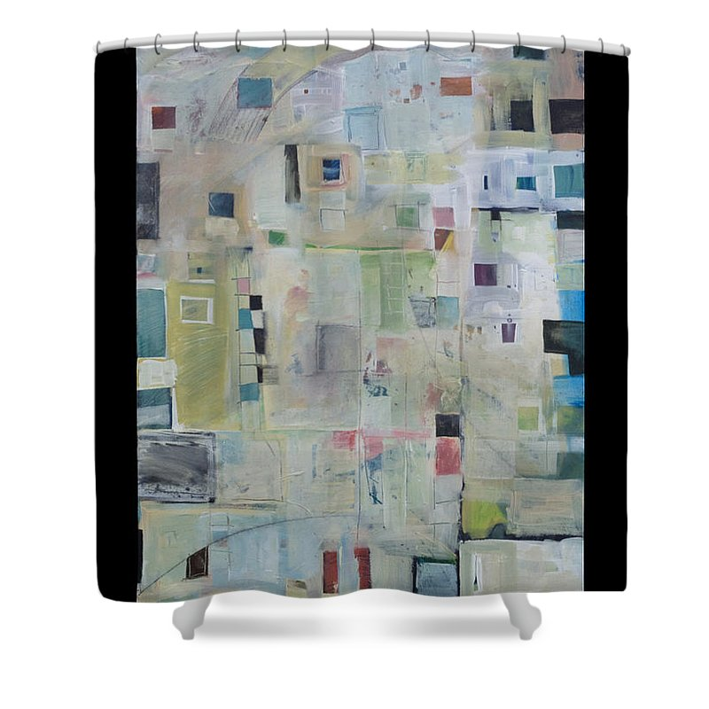 Abstract Shower Curtain featuring the painting 7am In The City That Doesn by Tim Nyberg